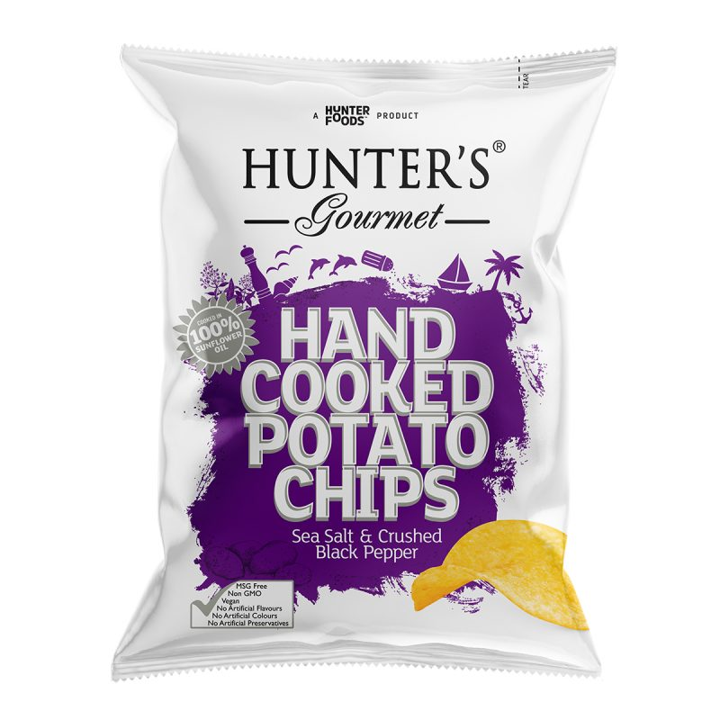 Hunter's Gourmet Hand Cooked Potato Chips - Sea Salt & Crushed Black Pepper (125gm)