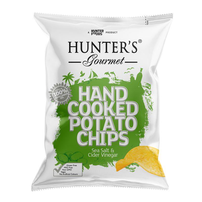 Hunter's Gourmet Hand Cooked Potato Chips - Sea Salt & Cider Vinegar (125gm)