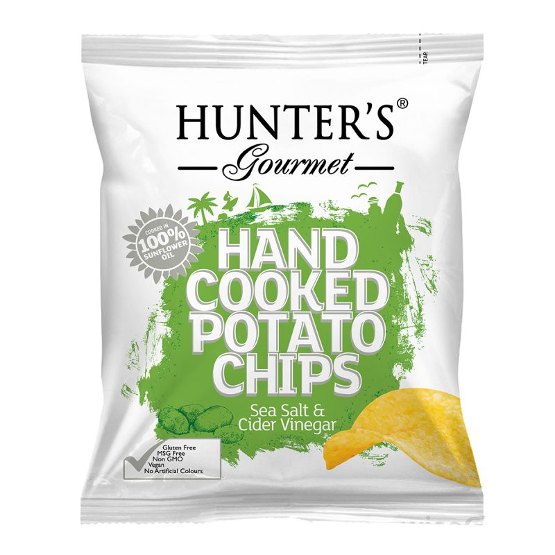 Hunter's Gourmet Hand Cooked Potato Chips - Sea Salt & Cider Vinegar (40gm) 40gm Packet. Potato Chips, Gluten free, Non GMO, No Preservatives, No Artificial Flavours, No Artificial Colours, Vegan, No Transfat, No Cholesterol, Halal.