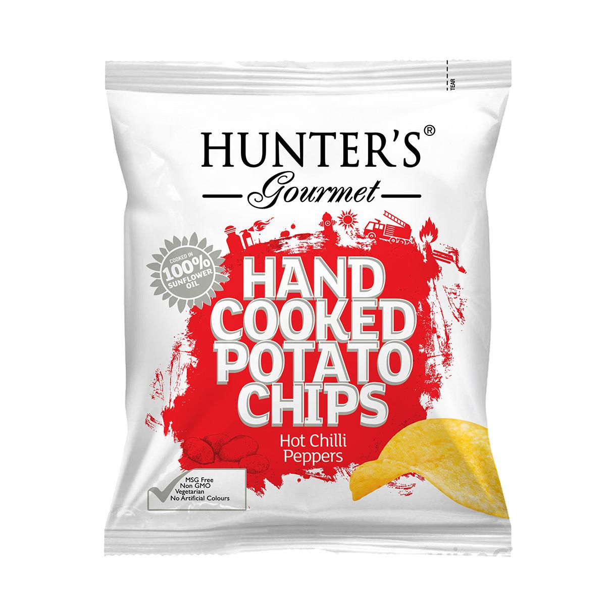 Hunter's Gourmet Hand Cooked Potato Chips – Sea Salt & Crushed Black Pepper (125gm)