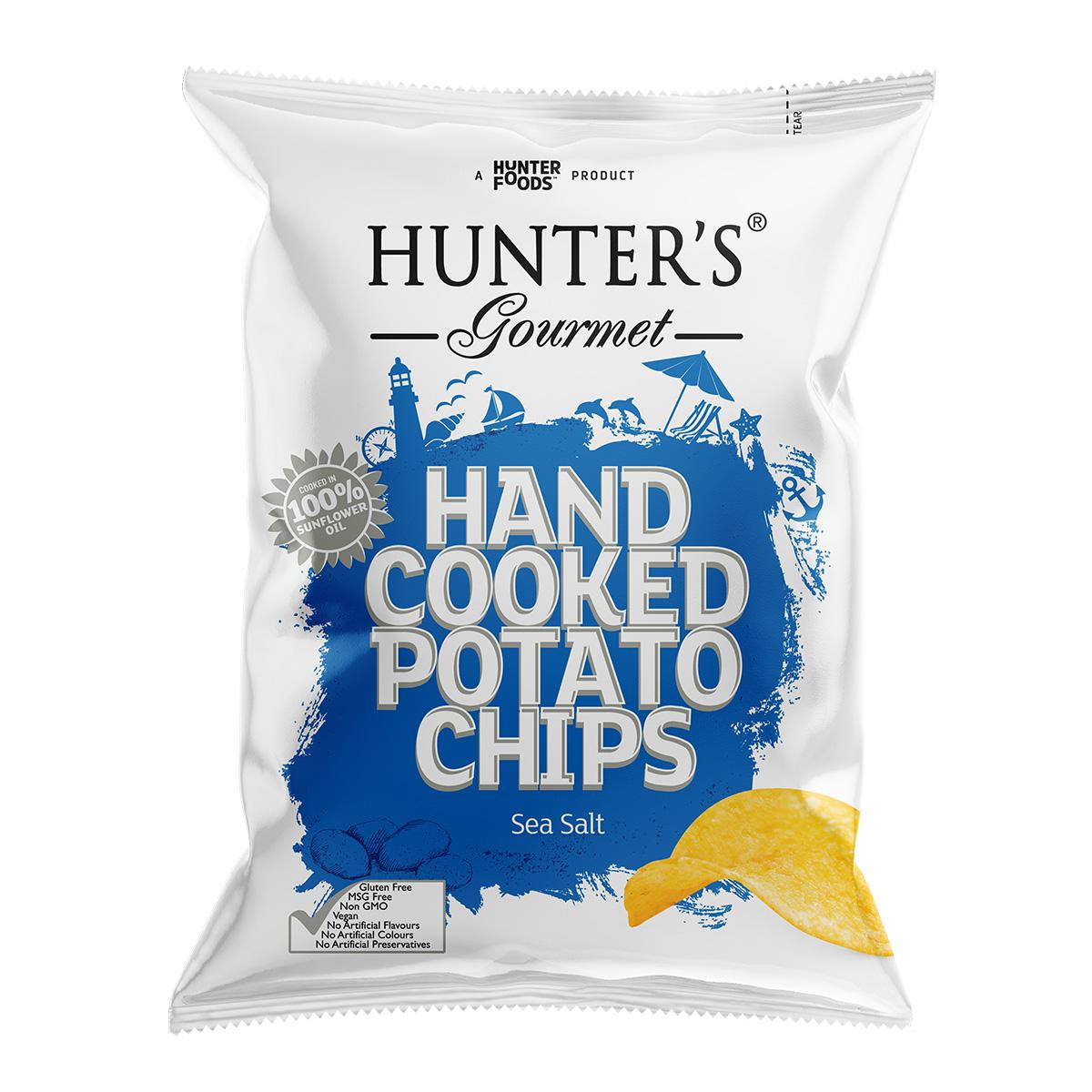 Hunter's Gourmet Hand Cooked Potato Chips - Sea Salt (125gm)