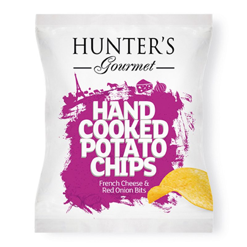Hunter's Gourmet Hand Cooked Potato Chips – French Cheese & Red Onion Bits (40gm)