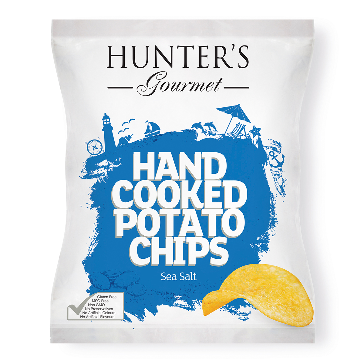 Hunter's Gourmet Hand Cooked Potato Chips – Sea Salt & Cider Vinegar (125gm)