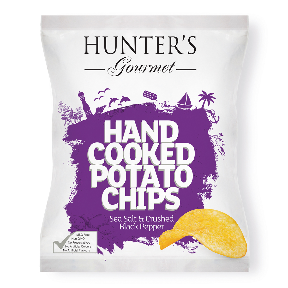 Hand Cooked Potato Chips - Sea Salt & Crushed Black Pepper (125gm)