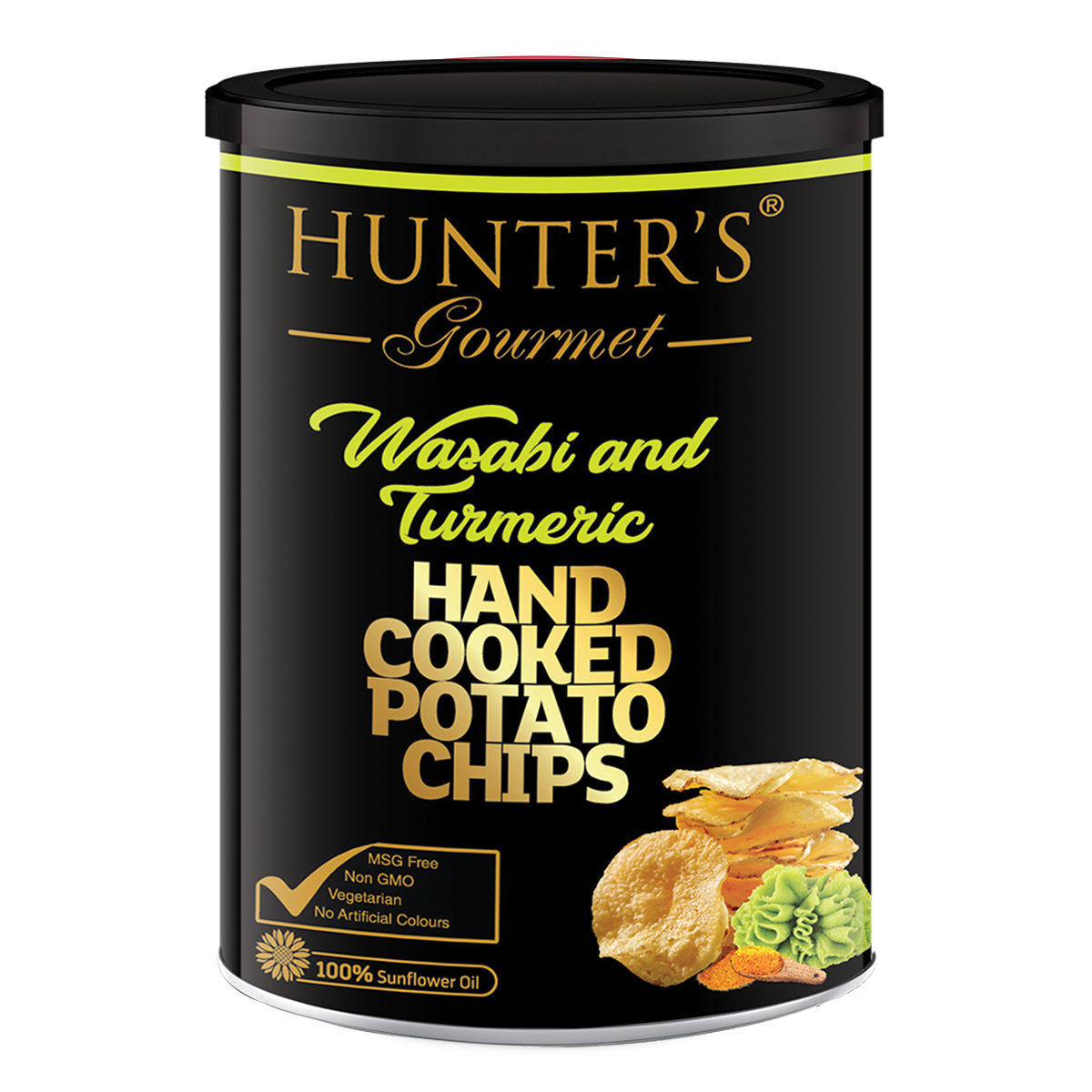 Hunter's Gourmet Hand Cooked Potato Chips - Wasabi and Turmeric - Gold line (150gm)