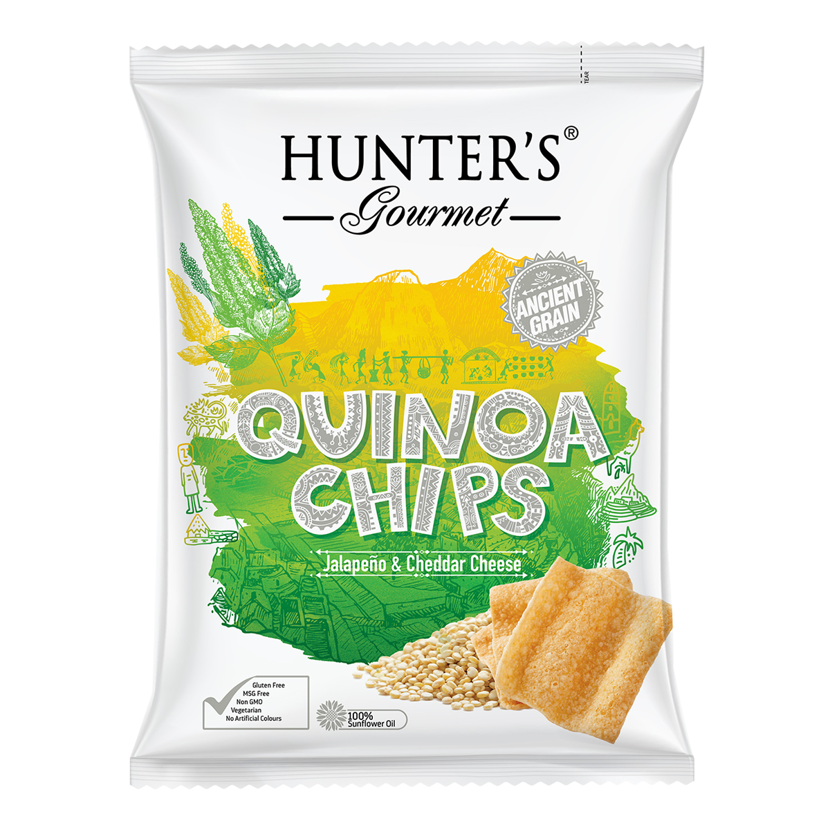 Hunter's Gourmet Quinoa Chips – Sea Salt & Cider Vinegar (75gm)