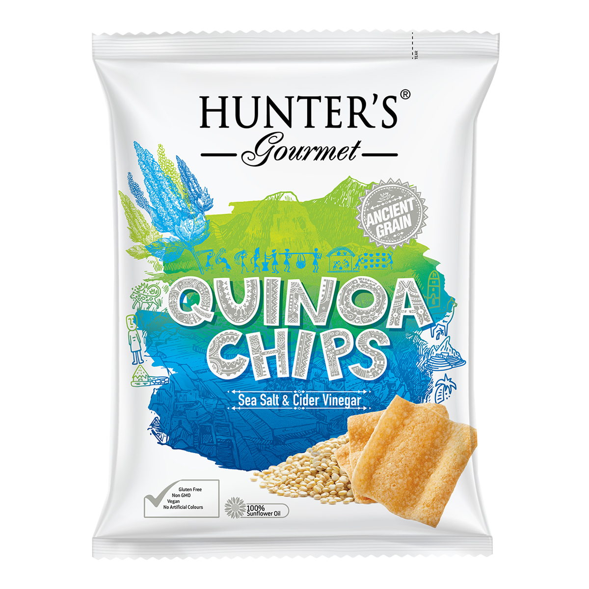 Hunter's Gourmet Quinoa Chips - Sea Salt & Cider Vinegar (75gm)