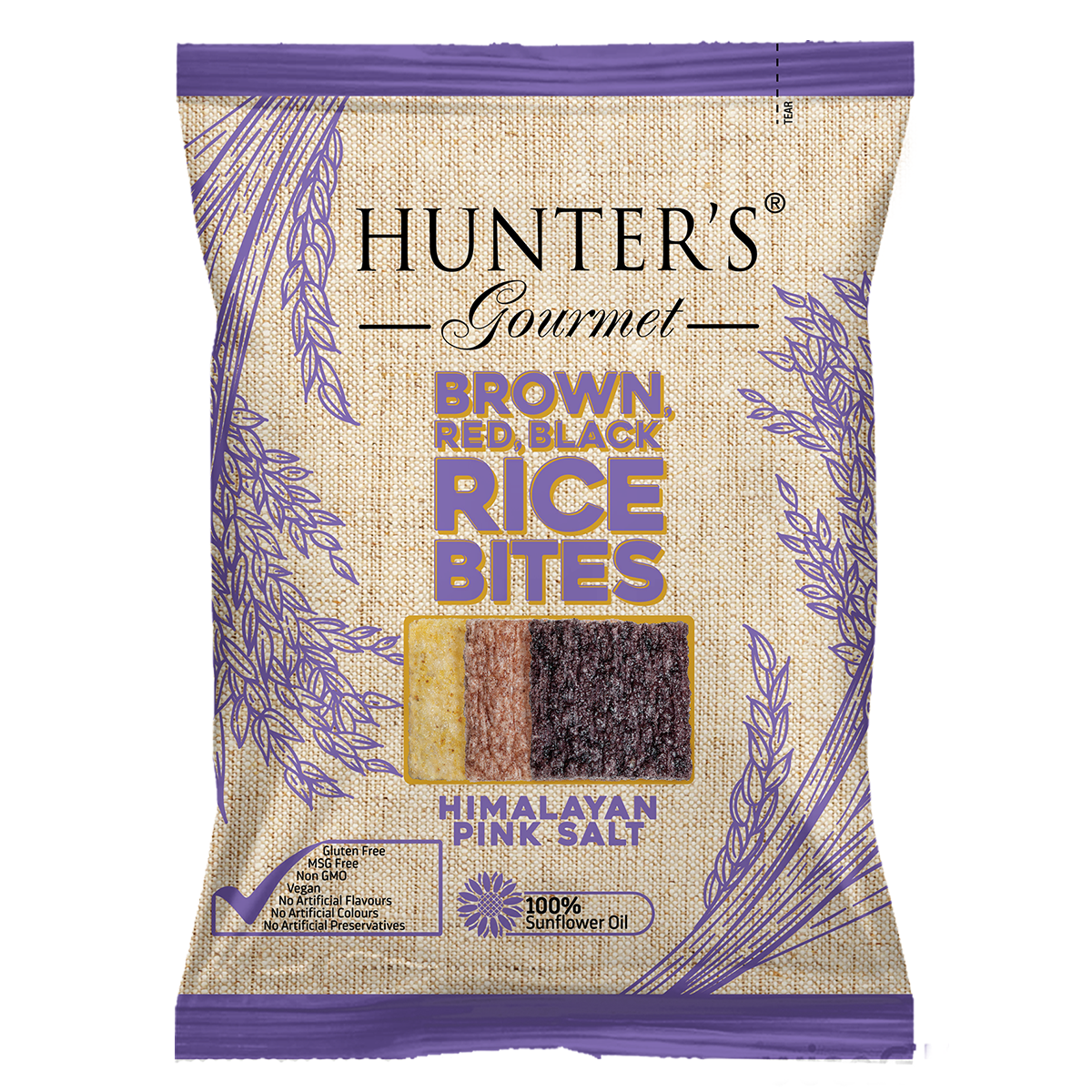 Hunter's Gourmet Brown, Red, Black Rice Bites Himalayan Pink Salt (50gm)