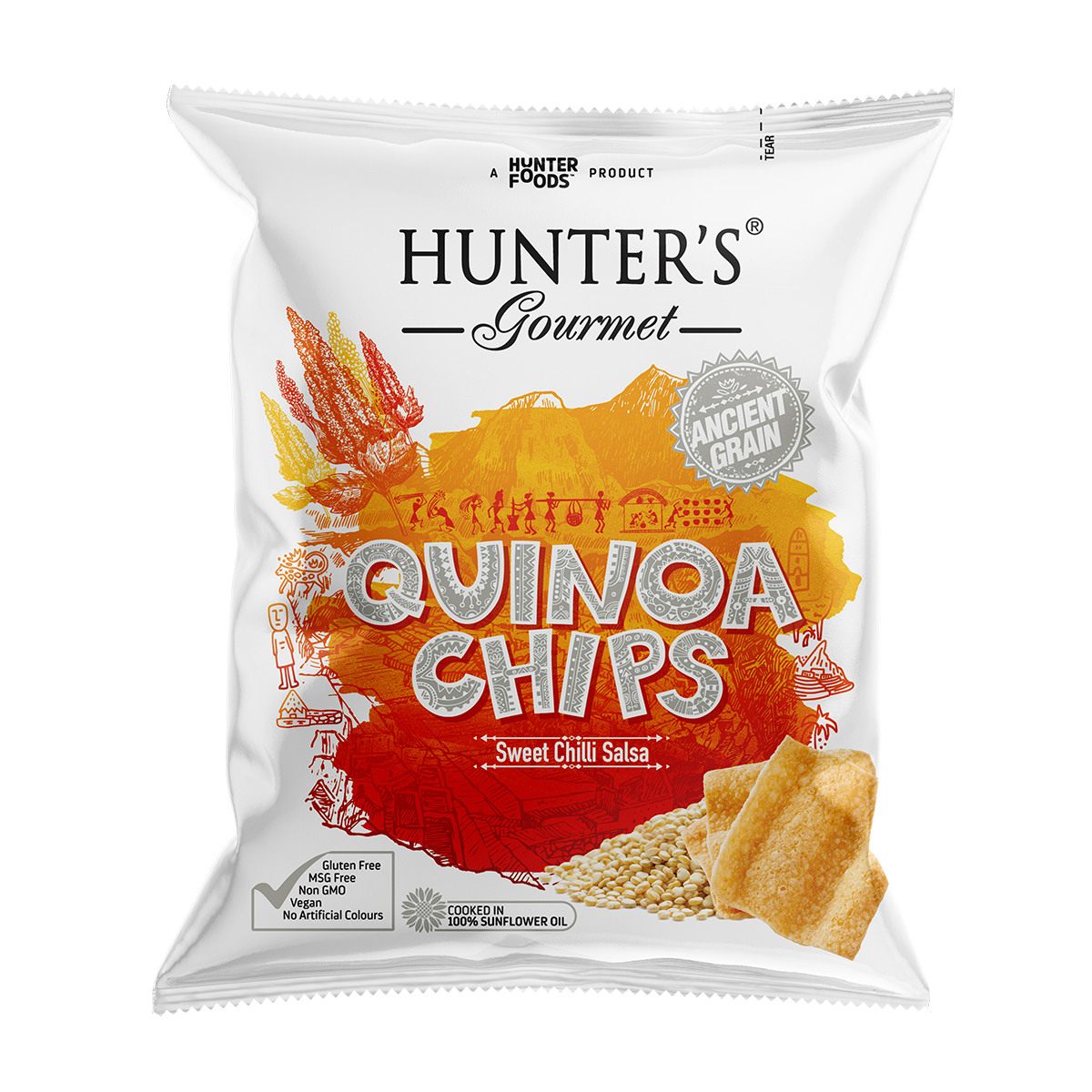 Hunter's Gourmet Lentil Protein Chips – with Roasted Flax Seeds (25gm)