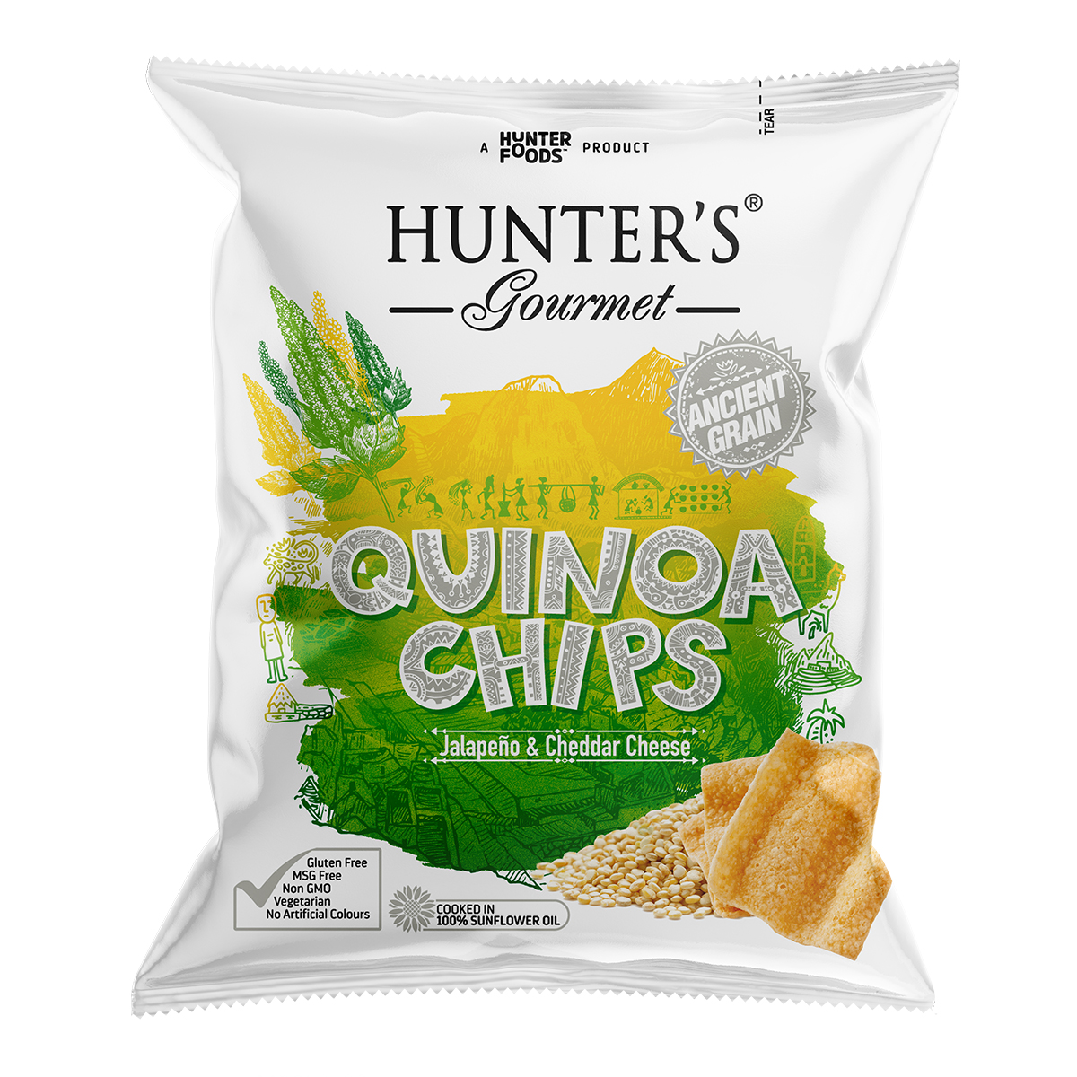 Hunter's Gourmet Quinoa Chips – Sea Salt & Cider Vinegar (28gm)