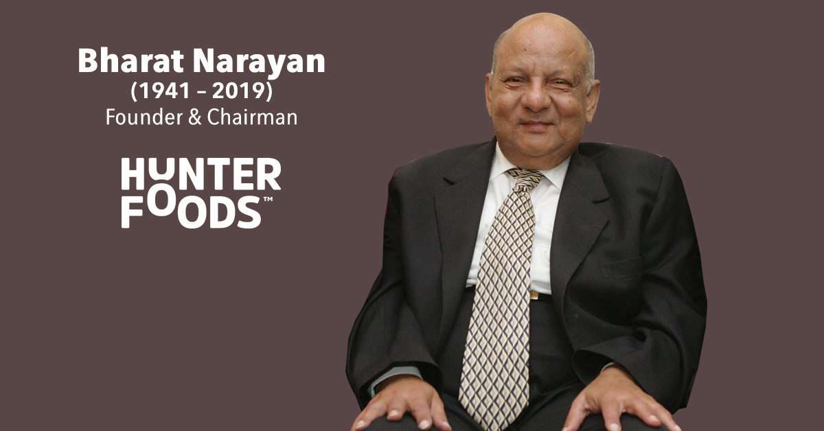 On Oct. 3, 2019, we remember Mr. Bharat Narayan, Founder of Hunter Foods, who established the first snacks factory and manufacturing unit in Jebel Ali Free Zone, Dubai, in 1985.