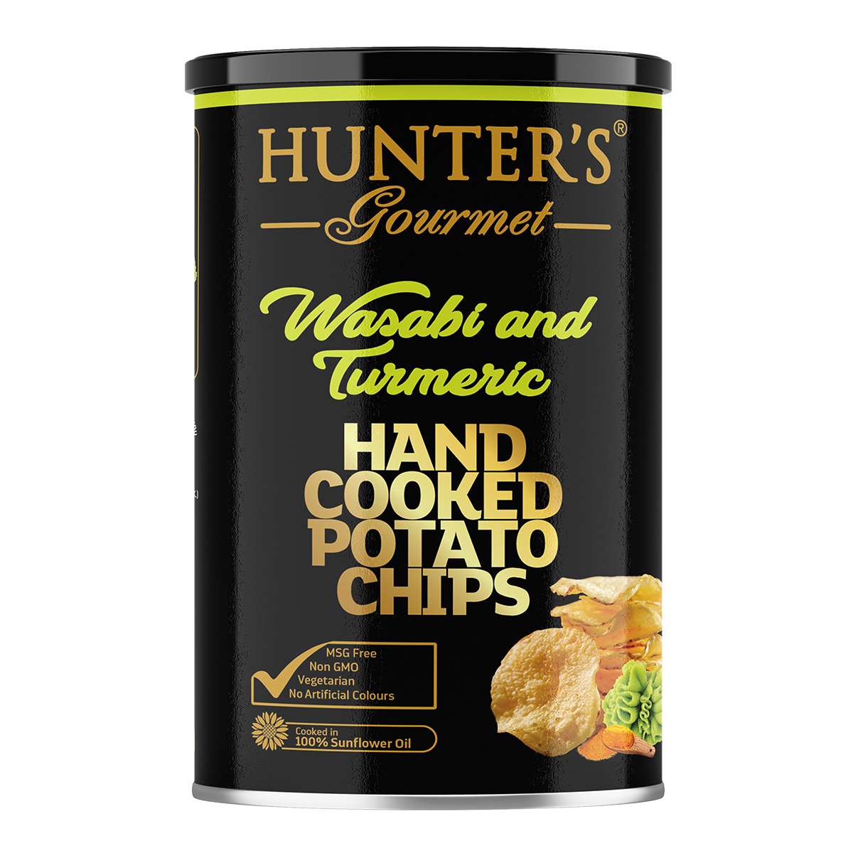 Hunter's Gourmet Hand Cooked Potato Chips – Wasabi And Turmeric – Gold Edition (150gm)