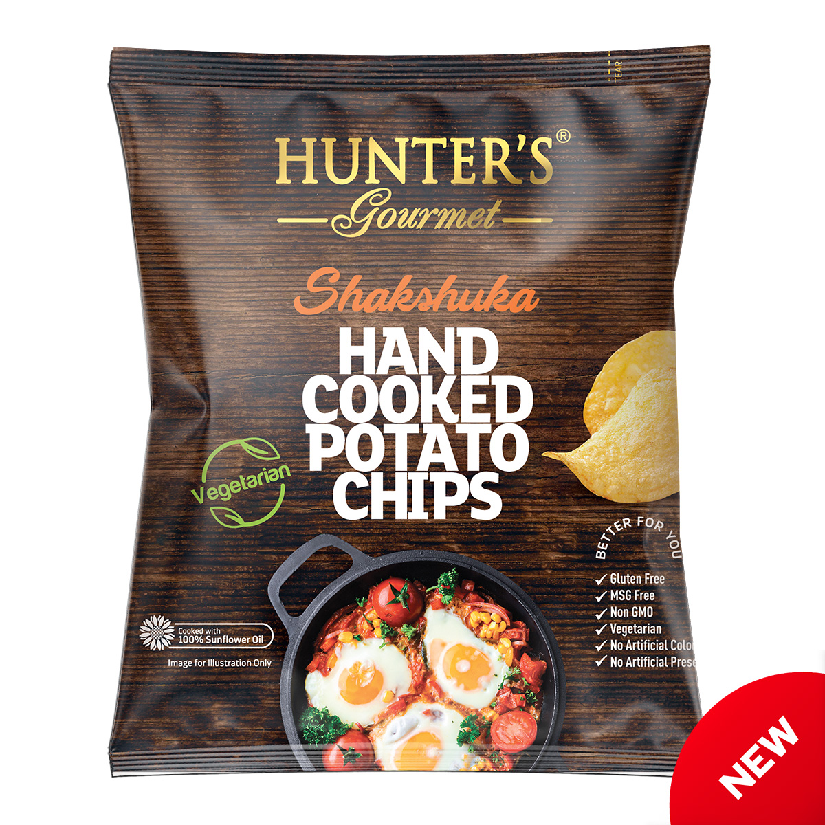 Hunter's Gourmet Hand Cooked Potato Chips – Shawarma – Middle Eastern Flavours (25gm)